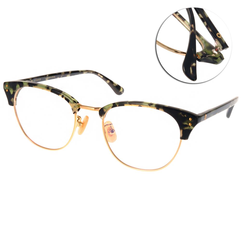 NINE ACCORD眼鏡 貓眼大圓框/琥珀綠-金#LENTOP AKI C05