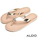 ALDO 原色金屬圓環釘人字型夾腳休閒涼拖鞋~豔陽金色