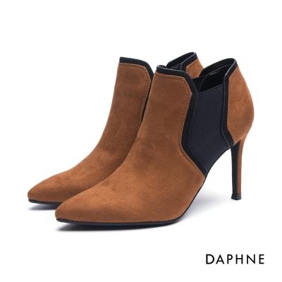 達芙妮DAPHNE 短靴-拼接幾何絨布細高跟踝靴-棕