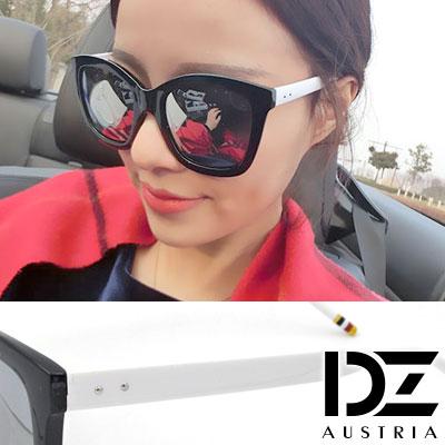【2件59折】DZ 彩圈飾腳 抗UV 偏光 太陽眼鏡墨鏡(白腳水銀膜)