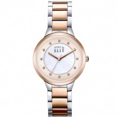 ELLE 時尚晶鑽不繡鋼時尚腕錶-玫瑰金x白色/34mm