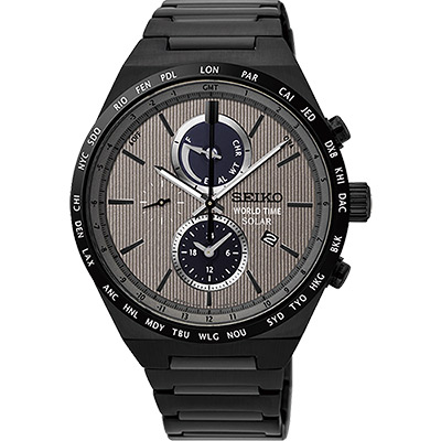 SEIKO 精工 SPIRIT 太陽能兩地時間計時腕錶(SSC527J1)-灰x鍍黑