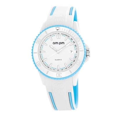 AM:PM瑞士精品手錶 CLUB系列 白X水藍錶框 白錶盤/水藍白色錶帶40mm