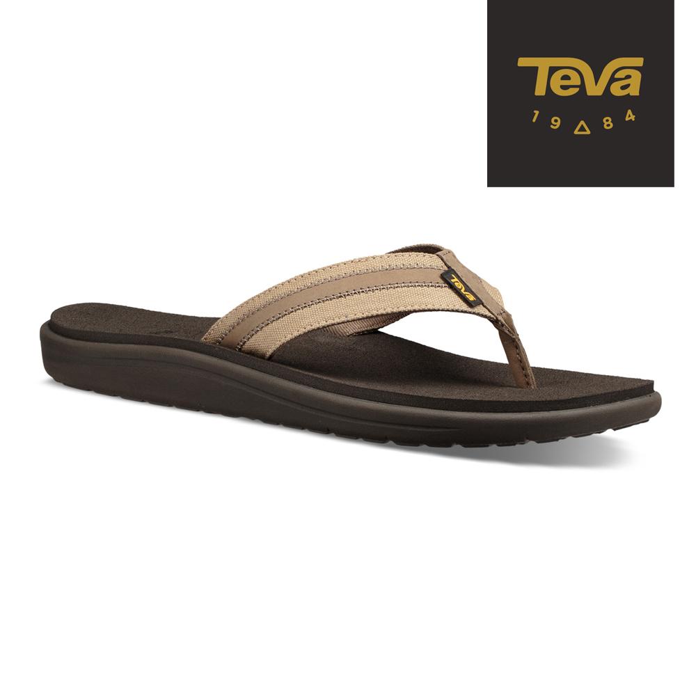 TEVA 美國-男 Voya Canvas Flip 經典織帶夾腳拖鞋 卡其