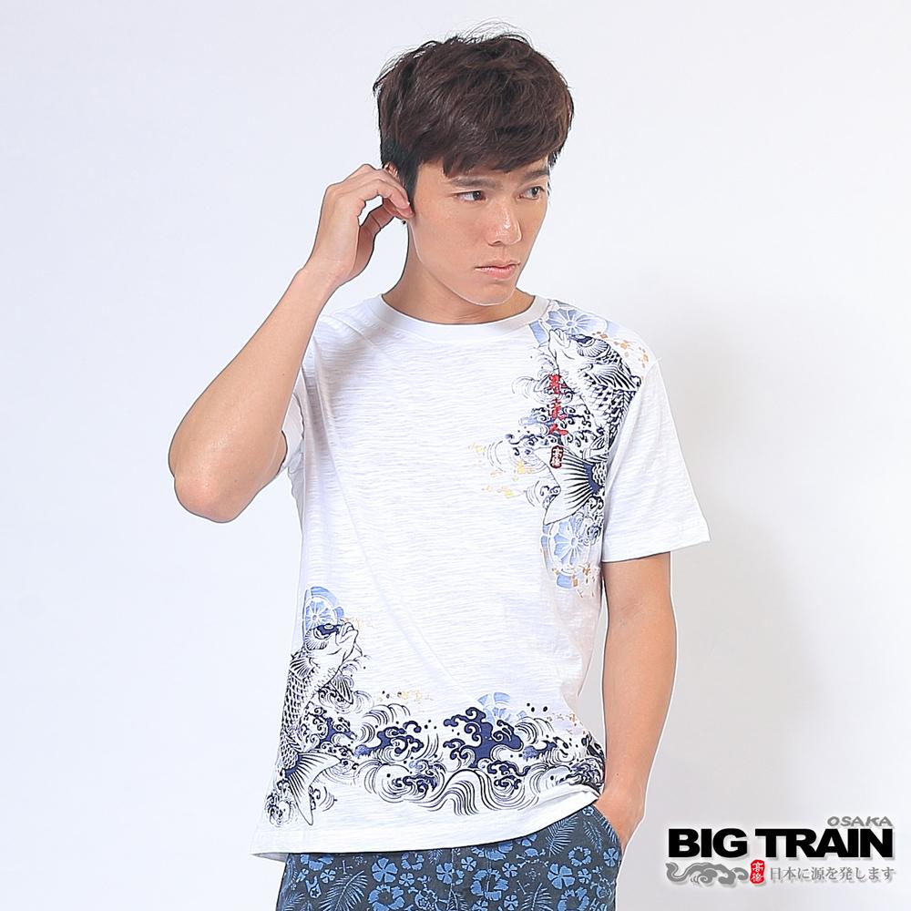BIG TRAIN 急流湧鯉圓領T-男-白色