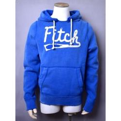 A&F Abercrombie & Fitch仿舊破損刷白LOGO貼布內刷毛帽T-藍