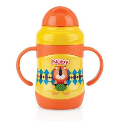 Nuby 不鏽鋼真空學習杯(粗吸管)-獅 220ml(12m+)