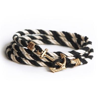 Kiel James Patrick 美國手工船錨棉麻繩多圈手環 黑白色纏繞編織