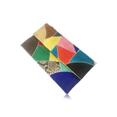 ACUBY 限量單品手工蛇皮摺疊手拿包/螢光彩