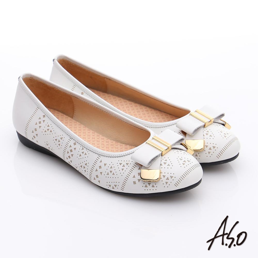 A.S.O 舒適通勤 真皮蝴蝶結奈米防滑跟鞋 白色