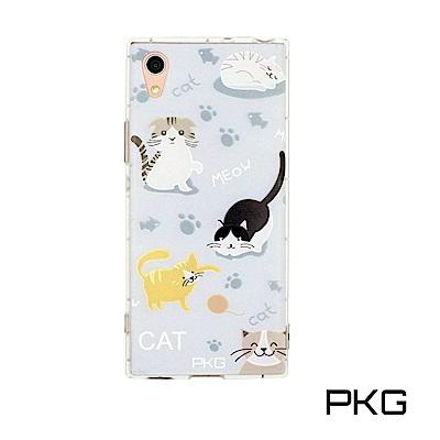 PKG SONY XA1-Ultra 彩繪空壓氣囊保護殼-浮雕彩繪-玩要貓