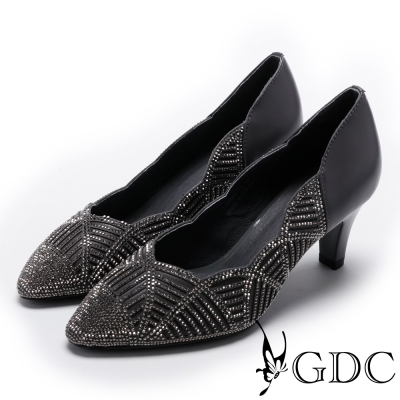 GDC-側邊波浪交叉幾何水鑽低跟尖頭鞋-槍灰色