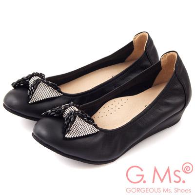 G.Ms. MIT系列-牛皮鑽飾串珠蝴蝶結小坡跟鞋-迷人黑