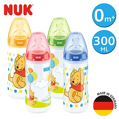 NUK迪士尼寬口徑PP奶瓶300ml-附1號中圓洞矽膠奶嘴0m+(顏色隨機出貨)