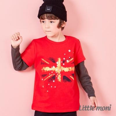 Little moni 美式街頭國旗印圖棒球上衣 紅色