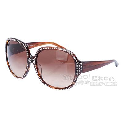 ALEXANDER-McQUEEN-100-抗UV水鑽鑲邊玳瑁色太陽眼鏡