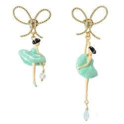 Les Nereides 優雅芭蕾舞女孩系列 閃亮蝴蝶結淺綠色女孩耳環