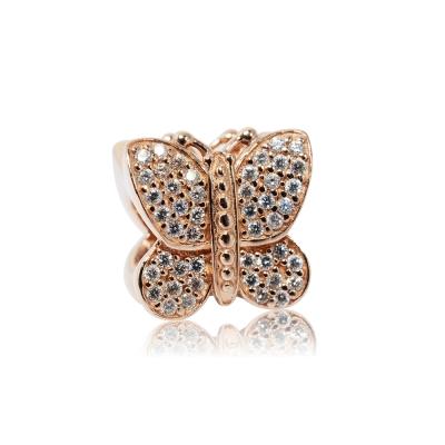 Pandora 潘朵拉 魅力鑲鋯玫瑰金蝴蝶 純銀墜飾 串珠