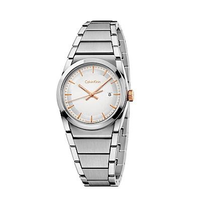 CK CALVIN KLEIN Step 型走系列時尚白色面盤女錶-30mm