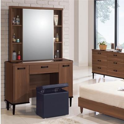 品家居 霍夫3.3尺淺胡桃耐磨化妝鏡台含椅
