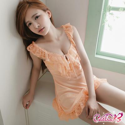 Caelia 蜜桃花絮!粉橘柔緞睡衣