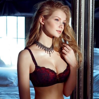 【La Felino】戀人3/4罩剪接款B-E罩杯蕾絲內衣 (火焰紅)