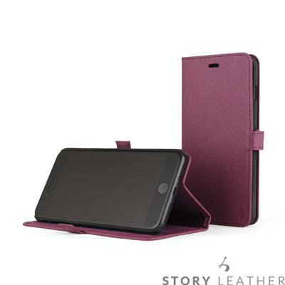 STORYLEATHER i7 Plus / i8 Plus 5.5吋 摺邊折疊式十字紋紫皮套