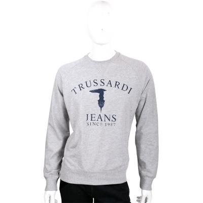 TRUSSARDI 灰色字母LOGO棉質長袖上衣
