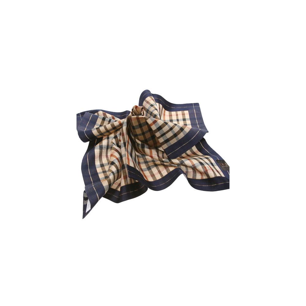 DAKS 經典格紋logo刺繡帕領巾(深藍邊)