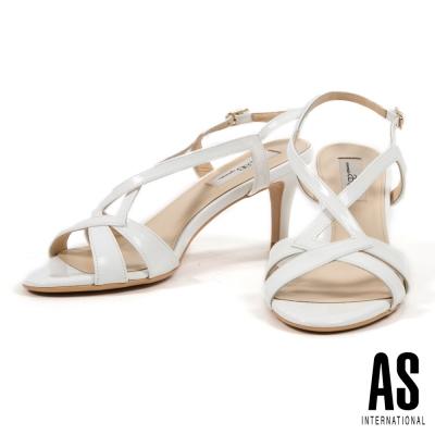 涼鞋 AS 時尚耀眼繫帶牛軟漆皮高跟涼鞋-白