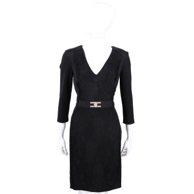 ELISABETTA FRANCHI 黑色拼接設計V領洋裝