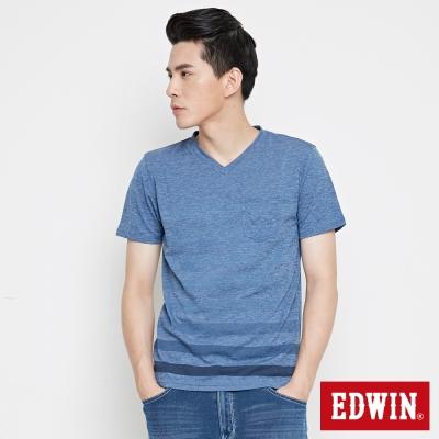 EDWIN-涼感V領條紋短袖T恤-男-丈青