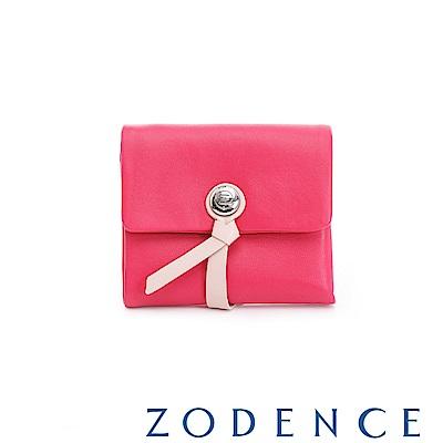 ZODENCE義大利羊皮柔軟繩扣設計短夾 俏桃紅