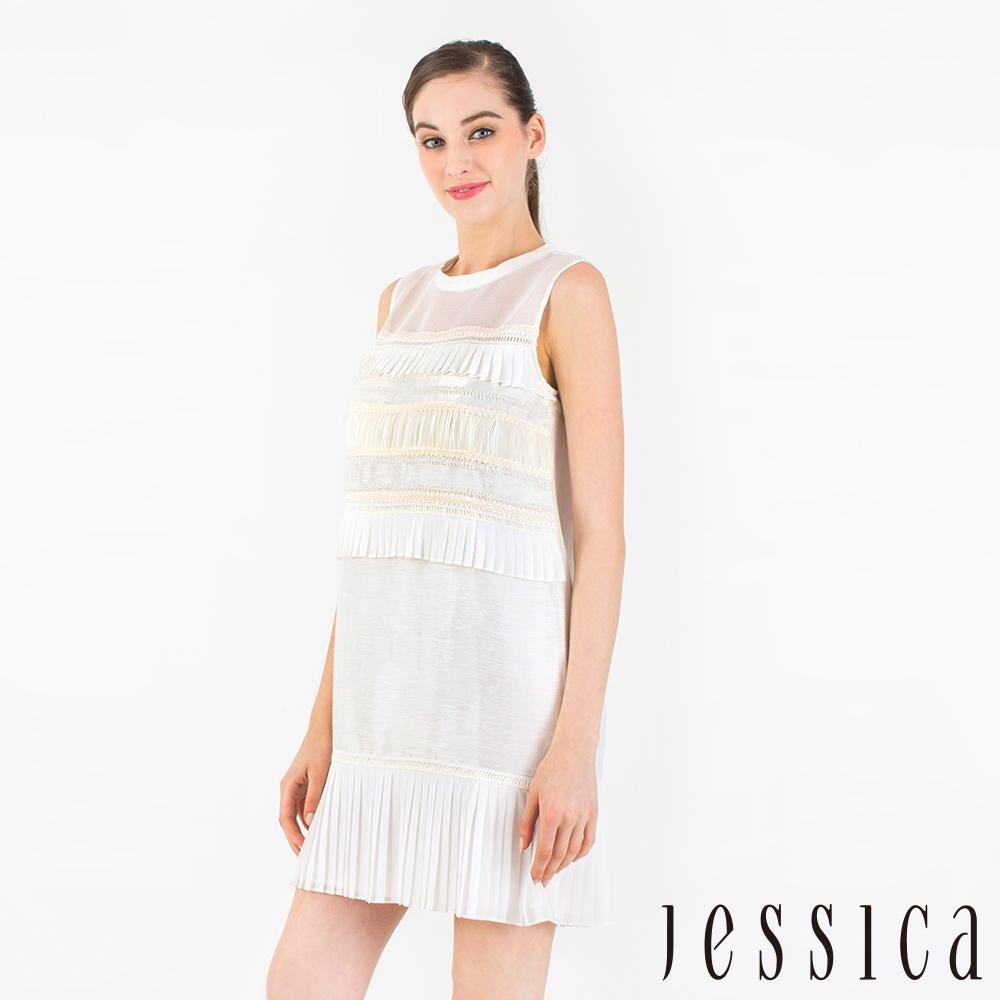JESSICA-氣質高雅刺繡百摺拼接修身洋裝(白)
