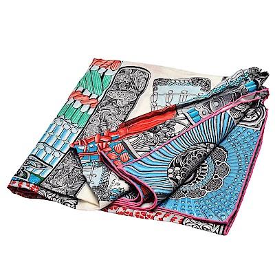 HERMES愛馬仕Samoura-s系列武士裝飾品圖案喀什米爾混紡方巾/絲巾(松石綠)