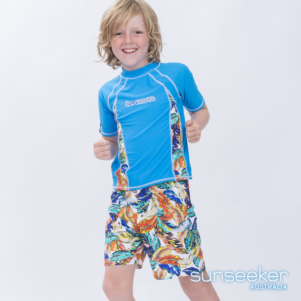澳洲Sunseeker泳裝抗UV防曬短袖泳衣-大男童上衣/天空藍