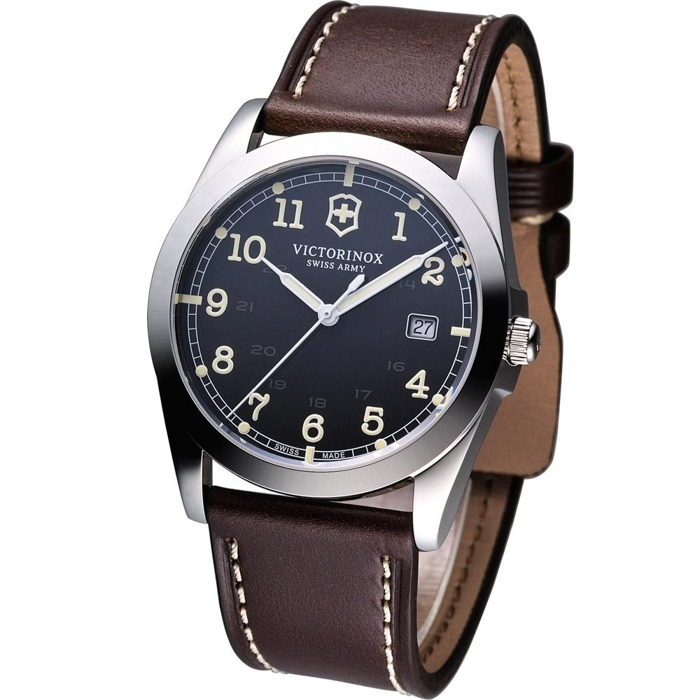 Victorinox Infantry 軍事風格機械腕錶-黑/咖啡皮帶/40mm