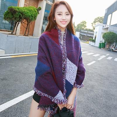 Seoul-Show-幾何格子仿羊絨大圍巾披肩-紅藍