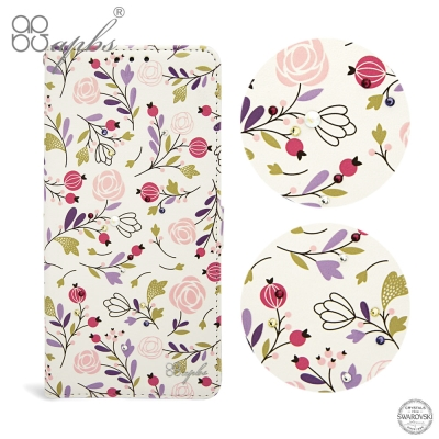 apbs Samsung Galaxy S8+ 施華洛世奇水晶鑽皮套-彩色玫瑰花