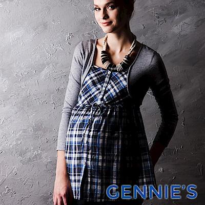 Gennies-010系列-假兩件式格紋孕婦上衣(T3238)