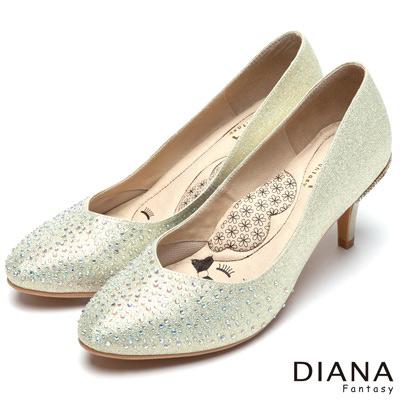 DIANA 漫步雲端LADY款--馬卡龍系耀眼水鑽跟鞋-金