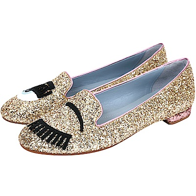 Chiara Ferragni Flirting金色新版眨眼亮片拼接樂福鞋(展示品)
