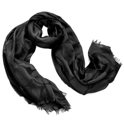 COACH黑色大C Logo羊毛披肩式圍巾178x132
