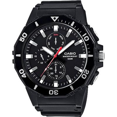 CASIO卡西歐 DIVER LOOK 潛水運動風手錶-黑/57.9mm