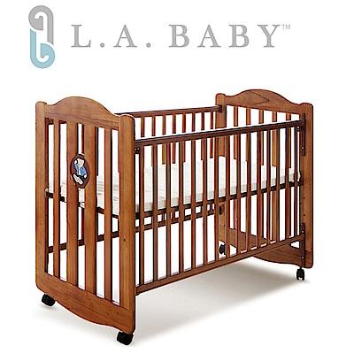【美國 L.A. Baby】凱麗熊搖擺中小嬰兒床/原木 (咖啡色)