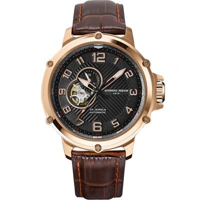 GIORGIO FEDON 1919 義大利經典機械腕錶-咖啡色/45mm