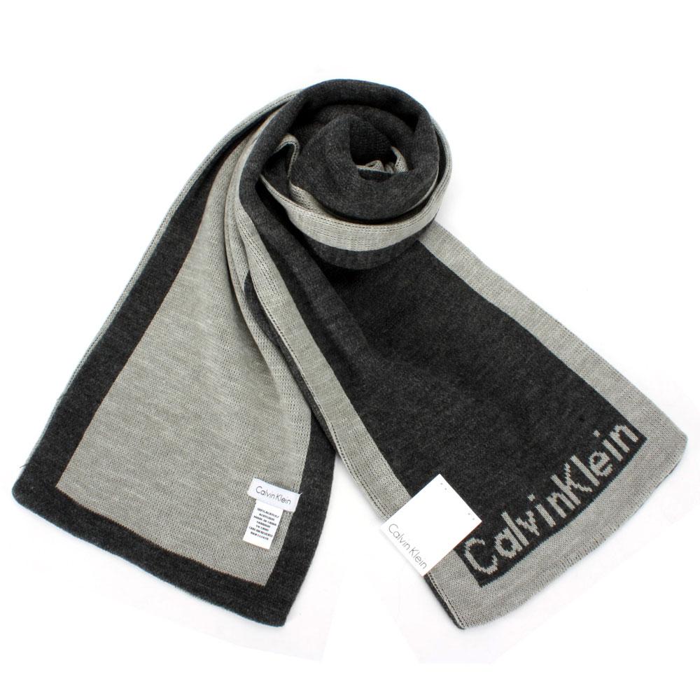 Calvin Klein 素面雙色休閒窄版圍巾-黑/灰