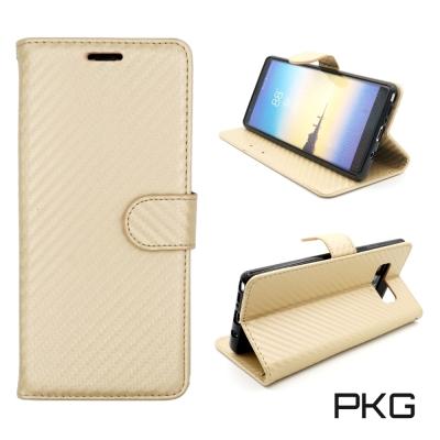 PKG SAMSUNG NOTE8 側翻式護套系列-類碳纖紋-金色
