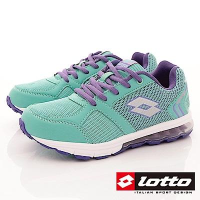 Lotto義大利運動鞋 輕量氣墊編織款 RFI715綠紫 (中大童段)