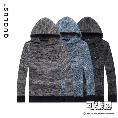 可樂思 麻花色系 彈性棉質 連帽 縮口 長T-共三色
